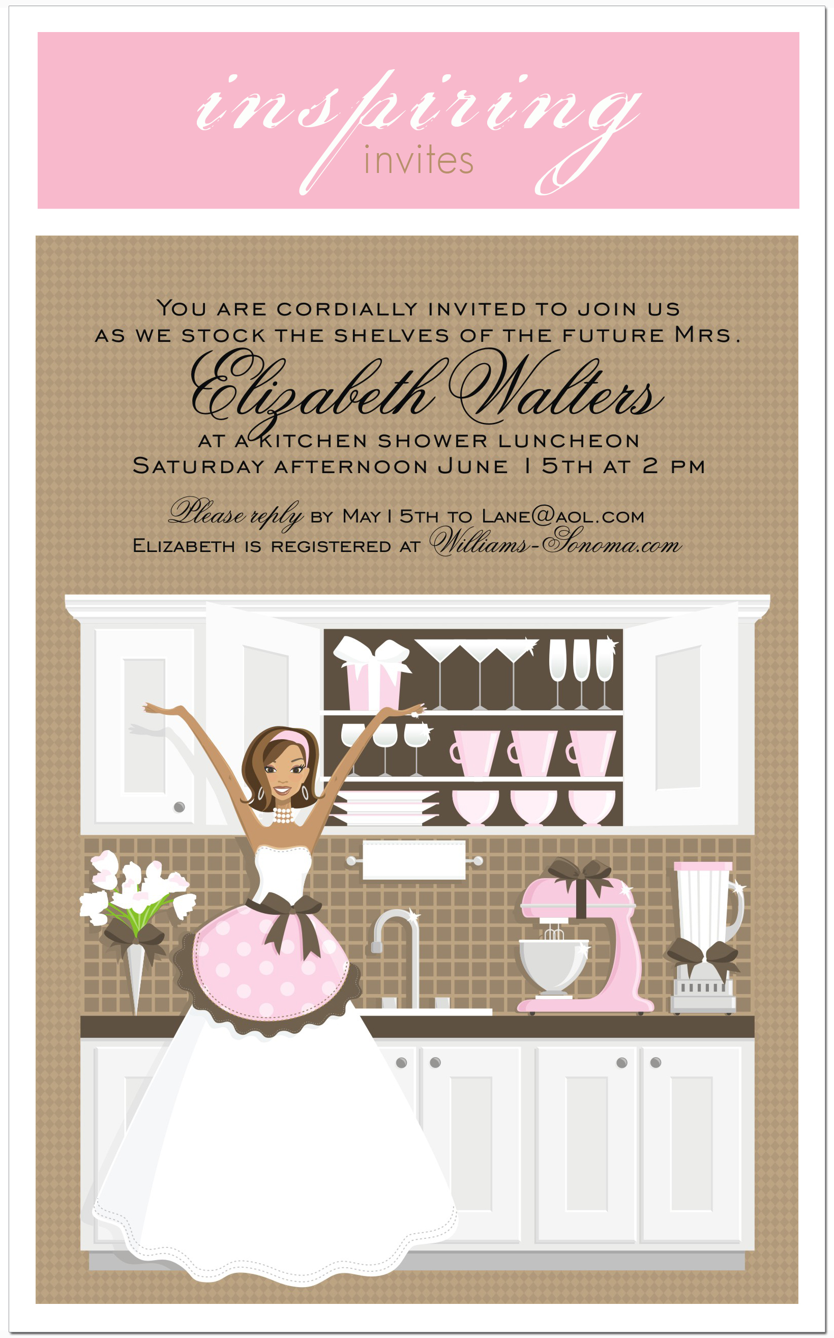kitchen party invitation cards design.  Pink Stock the Shelves Kitchen Bridal Shower Invitation