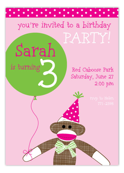 Kids party wording ideas polka dot design polka dot design blog pink sock monkey with balloon invitation pcdd np57bd1126pcdd stopboris Choice Image